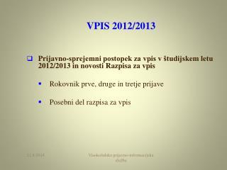 VPIS 2012/2013