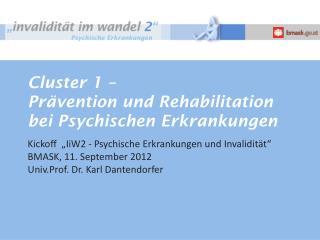 Cluster 1 –  Prävention und Rehabilitation bei Psychischen Erkrankungen