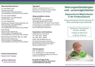 Das Seminar wird unterstützt durch die Firma Nutricia.