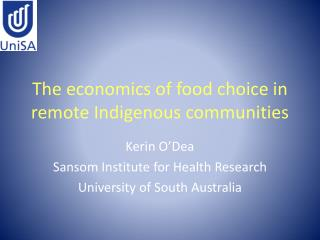 The economics of food choice in remote Indigenous communities