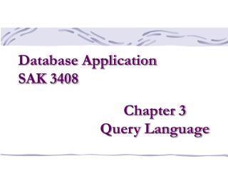 Chapter 3 Query Language