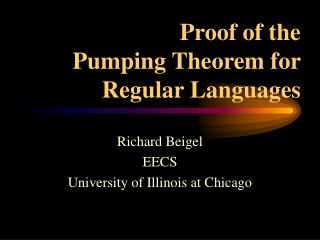 Proof of the         Pumping Theorem for Regular Languages