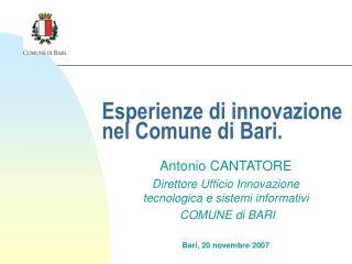 Esperienze di innovazione nel Comune di Bari.