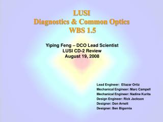 LUSI  Diagnostics & Common Optics  WBS 1.5