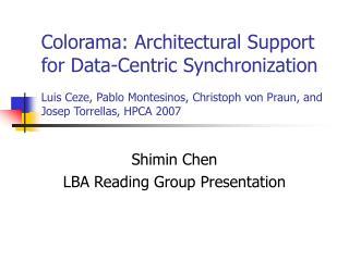 Shimin Chen LBA Reading Group Presentation