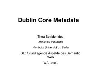 Dublin Core Metadata