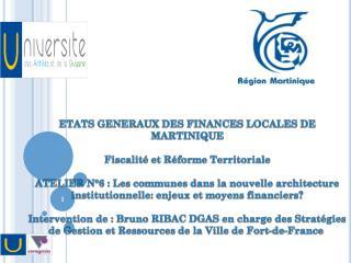 ETATS GENERAUX DES FINANCES LOCALES DE MARTINIQUE Fiscalité et Réforme Territoriale