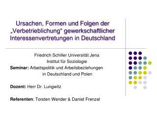 Friedrich Schiller Universität Jena Institut für Soziologie