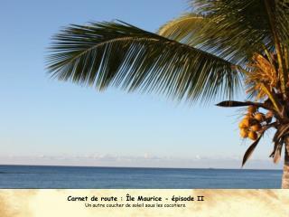 Carnet de route : Île Maurice - épisode II Un autre coucher de soleil sous les cocotiers.