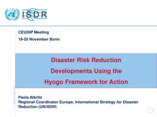 Disaster Risk Reduction  Developments Using the  Hyogo Framework for Action