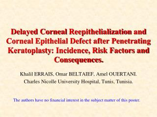 Khalil ERRAIS, Omar BELTAIEF, Amel OUERTANI. Charles Nicolle University Hospital, Tunis, Tunisia.