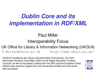 Dublin Core and its implementation in RDF/XML