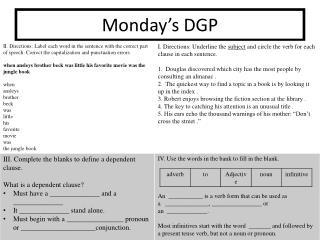 Monday's DGP