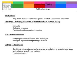 Disease Gene Finding. Table of contents: