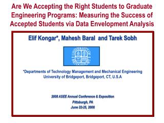 Elif Kongar*, Mahesh Baral  and Tarek Sobh