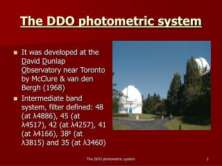 The DDO photometric system