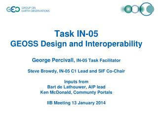 Task IN-05 GEOSS Design and Interoperability