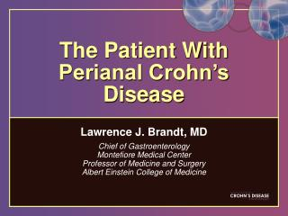 The Patient With Perianal Crohn's Disease