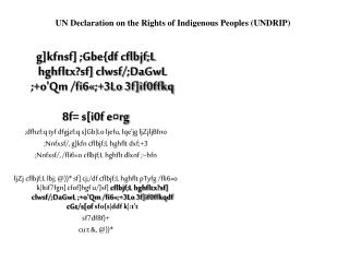 UN Declaration on the Rights of Indigenous Peoples (UNDRIP)