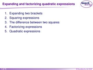 Expanding and factorizing quadratic expressions