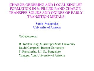 Sumit  Mazumdar University of Arizona