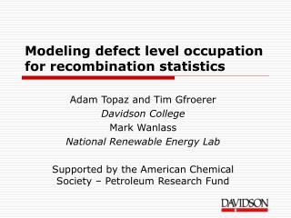 Modeling defect level occupation for recombination statistics