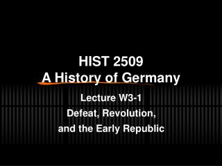 HIST 2509  A History of Germany