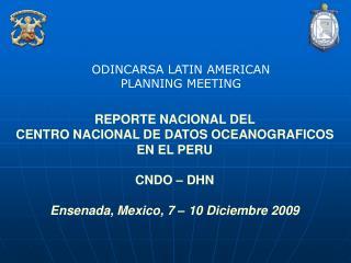 REPORTE NACIONAL DEL  CENTRO NACIONAL DE DATOS OCEANOGRAFICOS EN EL PERU CNDO – DHN