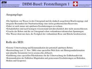 DHM-Basel: Feststellungen 1