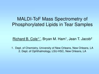MALDI-ToF Mass Spectrometry of  Phosphorylated Lipids in Tear Samples