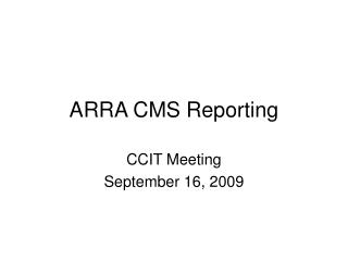 ARRA CMS Reporting