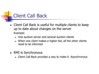 Client Call Back