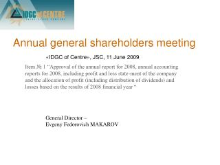 Annual general shareholders meeting