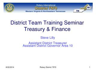 District Team Training Seminar Treasury & Finance