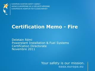Certification Memo - Fire