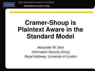Cramer-Shoup is Plaintext Aware in the Standard Model