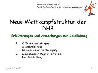 Neue Wettkampfstruktur des DHB