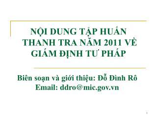 NỘI DUNG TẬP HUẤN  THANH TRA NĂM 2011 VỀ GIÁM ĐỊNH TƯ PHÁP