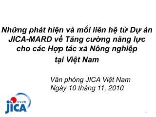 Những phát hiện và mối liên hệ từ Dự án   JICA-MARD về Tăng cường năng lực