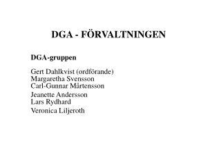 DGA - F�RVALTNINGEN