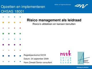 Opzetten en implementeren  OHSAS 18001