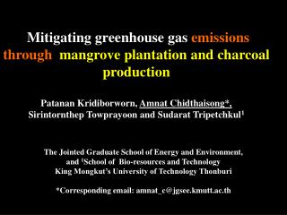 Mitigating greenhouse gas  emissions through   mangrove plantation and charcoal production