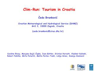 Clim-Run:  T ourism in Croatia