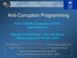 Anti-Corruption Programming