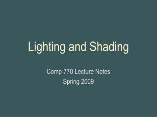 Lighting and Shading