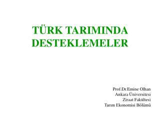 TÜRK TARIMINDA DESTEKLEMELER