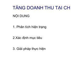 TĂNG DOANH THU TẠI CH