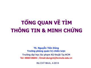 TỔNG QUAN VỀ TÌM  THÔNG TIN & MINH CHỨNG
