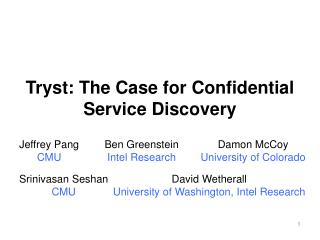 Tryst: The Case for Confidential Service Discovery