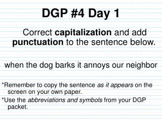 DGP #4 Day 1